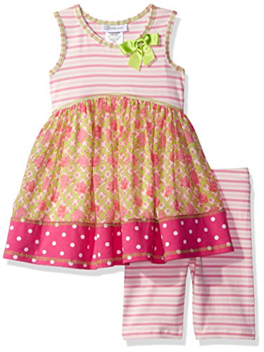 Bonnie Jean Toddler Girls' Sleeveless Dress and Legging Set, Pink, 3T