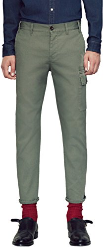 Gucci Men's Olive Green Washed Stretch Cotton Web Stripe Casual Pants, Green, 32
