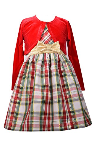 Bonnie Jean Girls' Taffeta Holiday Cardigan Dress Set (5, Red)