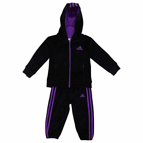 adidas Girls' 2 Piece Jacket Pants Tracksuit Set (Black, 6)