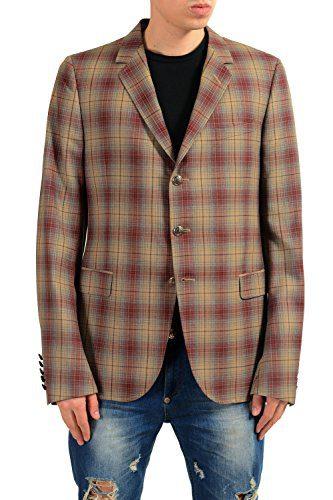 Gucci Men's 100% Wool Plaid Three Button Blazer Sport Coat Size US 44 IT 54