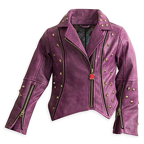 Disney Descendants Faux Leather Moto Jacket for Girls Size 7/8 Purple