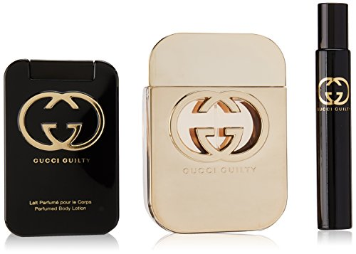 Gucci Guilty by Gucci for Women 3 Piece Set Includes: 2.5 oz Eau de Toilette Spray + 3.3 oz Perfumed Body Lotion + 0.25 oz Eau de Toilette Fragrance Pen Spray