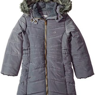 Calvin Klein Little Girls' Long Puffer Jacket, Open Dark Grey, 5