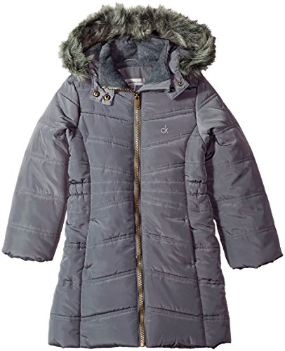 Calvin Klein Little Girls' Long Puffer Jacket, Open Dark Grey, 5