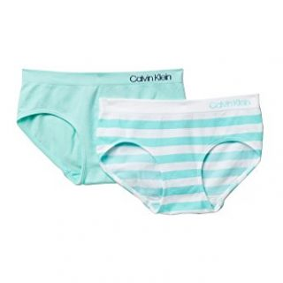 Calvin Klein Girl`s Seamless Hipster Briefs 2 Pack (Teal Rugby(U7103)/Teal, Small)