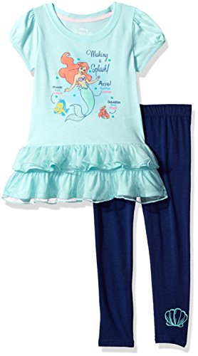 Disney Toddler Girls' Ariel The Little Mermaid 2-Piece Legging Set, Blue/Navy, 4