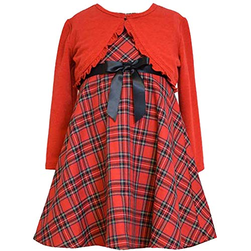 Bonnie Jean Little Girls 2T-6X Red/Black Tartan Plaid Dress/Cardigan Sweater Set, Red, 4T