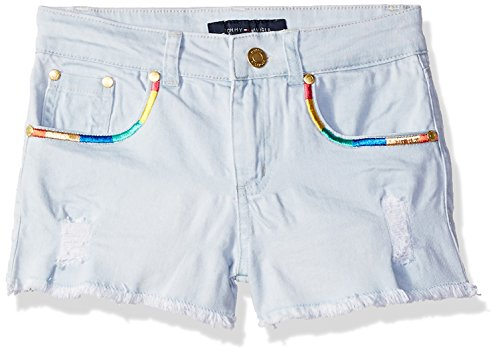 Tommy Hilfiger Big Girls' 5-Pocket Denim Short, Sunwashed Blue Rainbow, 10