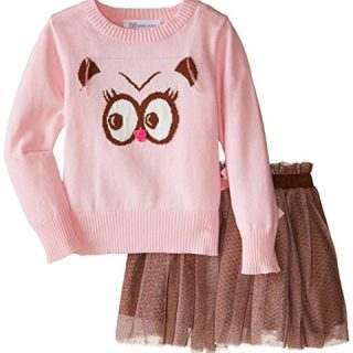 Bonnie Jean Little Girls' Toddler Owl Instarsia Sweater Skirt Set, Pink, 2T