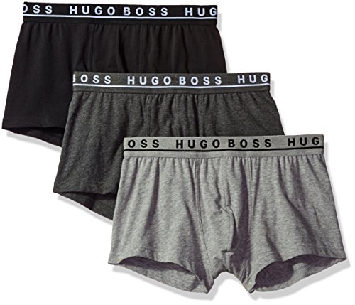 Hugo Boss BOSS Men's Trunk 3p Co/El , Grey/Charcoal/Black, Medium