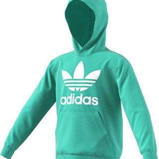 adidas Originals Kids Unisex Trefoil Hoodie (Little Kids/Big Kids) Easy Green/White X-Large