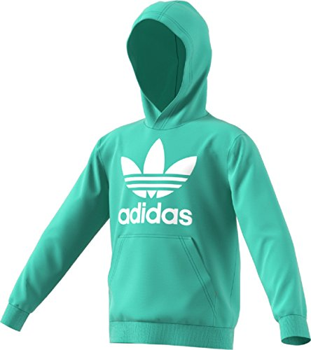 adidas Originals Kids Unisex Trefoil Hoodie (Little Kids/Big Kids) Easy Green/White X-Large