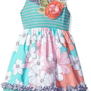 Bonnie Jean Toddler Girls' Stripe Knit to Printed Cotton Skirt, Aqua, 3T