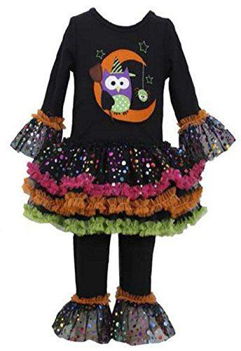 Bonnie Jean Little Girls' Owl Halloween Appliqued Legging Set, Black, 5
