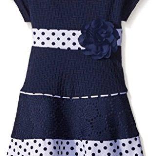 Sweet Heart Rose Little Girls Ponte A-Line Dress with Polka Dot Hem, Navy/White, 4