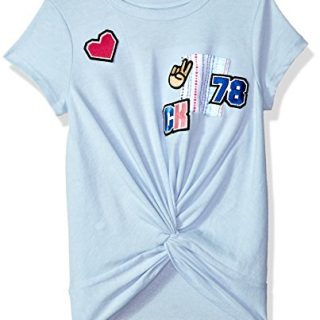 Calvin Klein Toddler Girls' Calvin Graphic Tee, Light Blue Heather, 4T