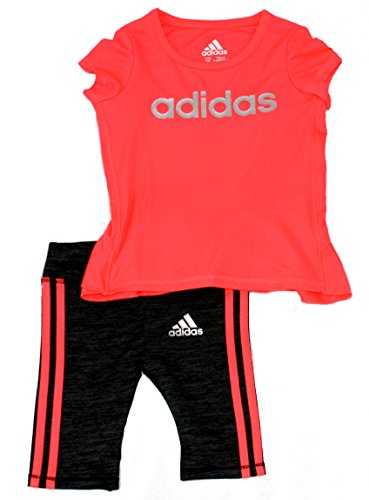 adidas Girls' Infant Toddler Melange Capri Set (3M)