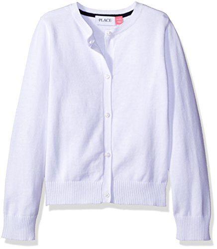 The Children's Place Big Girls' Uniform Cardigan Sweater, White, Medium/7/8