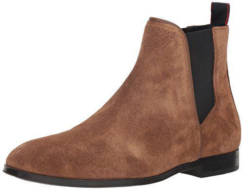 HUGO by Hugo Boss Men's Boheme Suede Chelsea Boot, Medium Brown, 43 M EU (10 US)