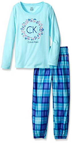 Calvin Klein Little Girls' Floral Reef CK Crew Neck Sleep Set, Blue Radiance, 5/6