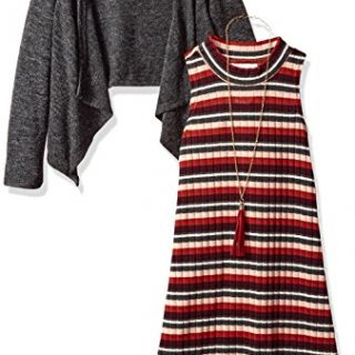 Bonnie Jean Big Girls' Little Two Piece Dress and Cardigan Set, Grey, 7