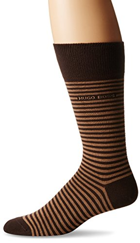 HUGO BOSS Men's Brian Striped Crew Sock, Brown, 7-13/Shoe Size 6-12