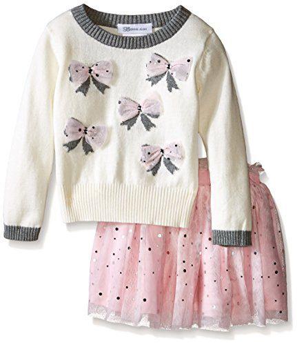 Bonnie Jean Girls Appliqued Intarsia Sweater and Ballerina Skirt Set, Ivory, 6