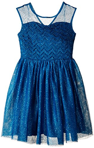 Speechless Big Girls' Illusion Yoke Ballerina Dress, Dark Teal, 12