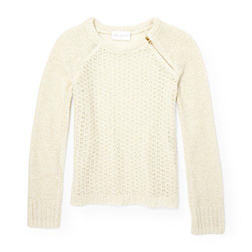 The Children's Place Big Girls' Zipper Fashion Sweater, Snow, XXL(16)