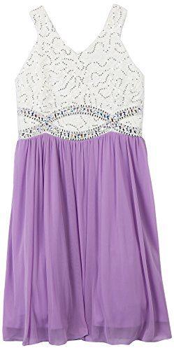 Speechless Big Girls' Sequin Lace V Neck Jeweled Waist Dress, White/Lavender, 16