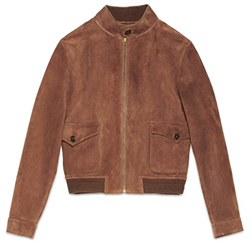 Gucci Men's Brown Suede Leather Bomber Jacket, Brown, EU 54/US XL