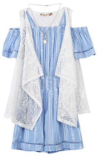 Speechless Big Girls' Off The Shoulder Romper with Vest, Chambray, Small