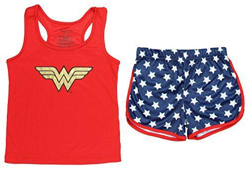 Wonder Woman Big Girls Sporty Mesh Pajama Short Set, Red, 7/8