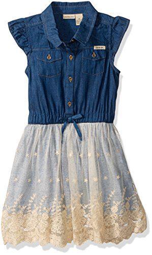 Calvin Klein Toddler Girls' Dress, Blue, 3T