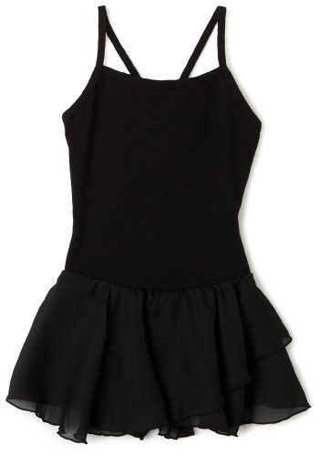 Capezio Little Girls' Camisole Cotton Dress,Black,I ( 6-8)