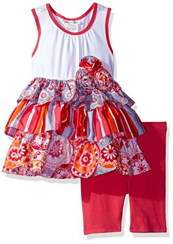 Bonnie Jean Toddler Girls' Mixed Print Tiered Dress and Legging Set, Fuchsia, 4T
