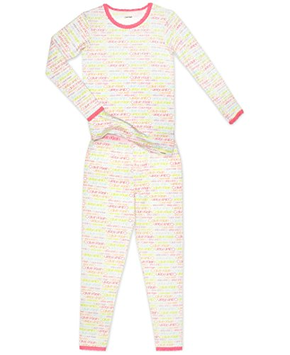 Calvin Klein Little Girls' 2 Piece Sleepwear Long Sleeve Pant Set, Rainbow Logo, 8