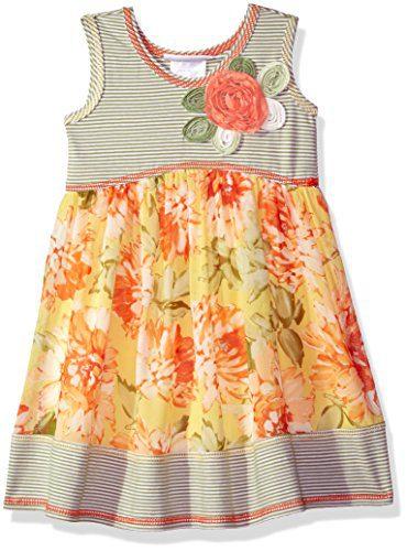 Bonnie Jean Toddler Girls' Knit To Challis Print Dress, Yellow/Green, 3T
