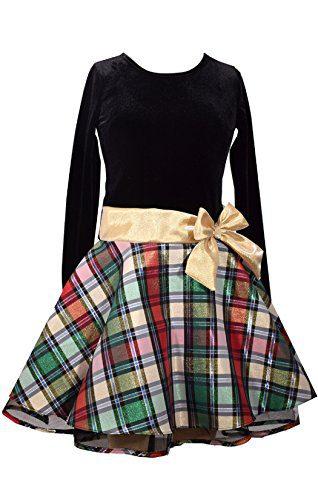 Bonnie Jean Stretch Velvet To Glitter Flock Drop Waist Holiday Girls Dress (16, Gold)