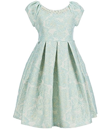 Bonnie Jean Easter Girls Jacquard Fall Holiday Special Occasion Dress, Gold / Mint (14, Gold/Mint)