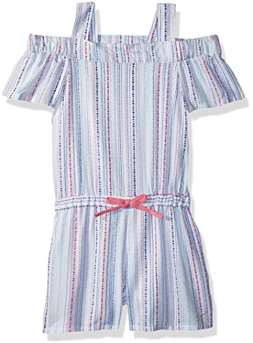 Calvin Klein Toddler Girls' Cold Shoulder Romper, White, 4T