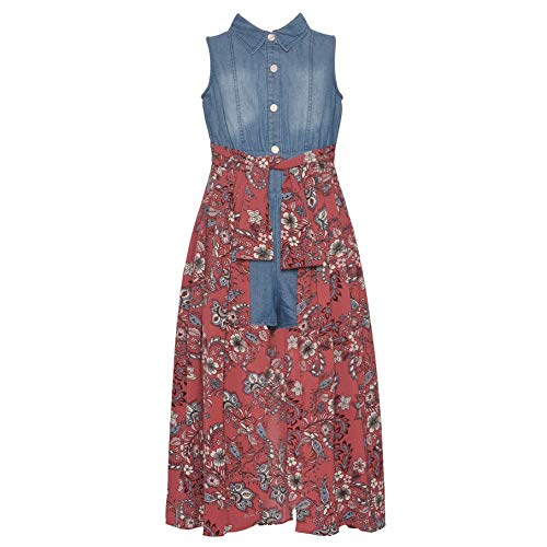 Bonnie Jean Big Girls Blue Denim Shirt-Style Top Flower Print Jumpsuit 12