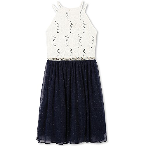 Speechless Big Girls' Sequin Lace/Mesh Tulle High Neck Dress, Ivory Navy, 12