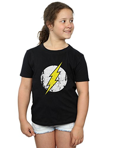 DC Comics Girls Flash Distressed Logo T-Shirt 5-6 Years Black