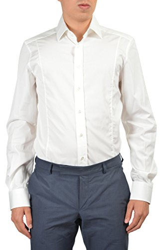 "Gucci ""Fitted"" Men's White Long Sleeve Dress Shirt US 18.5 IT 47;"