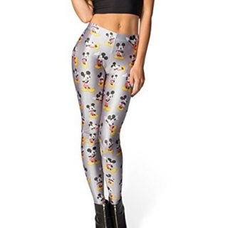 Girl's Autumn Mickey Mouse Basic Leggings One Size Grey