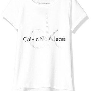Calvin Klein Big Girls' CK Logo Tee, Hem White, Large (12/14)