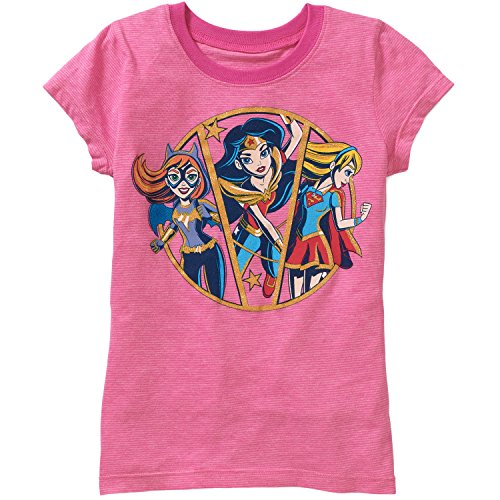 Girls' DC Comics Strong Ladies Short Sleeve Crew Neck Graphic T-Shirt (Small (6-6X)) ,Pink
