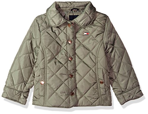 Tommy Hilfiger Toddler Girls' Diamond Quilted Barn Jacket, Sagier Green, 4T